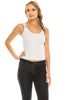 Women's Buckle Ribbed Stretch Crop Tank Top Adjustable Straps