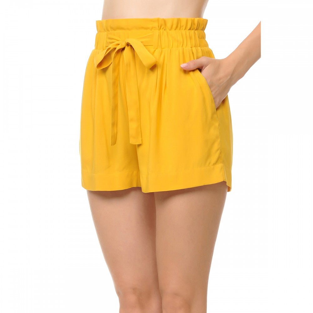 Solid Lightweight High-Rise Self Tie Ribbon Belt Elasticized Waist Slanted Front Pockets Shorts
