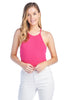 Women's Casual Sleeveless High Neck Racer Back Ribbed Cami Tank Bodysuit