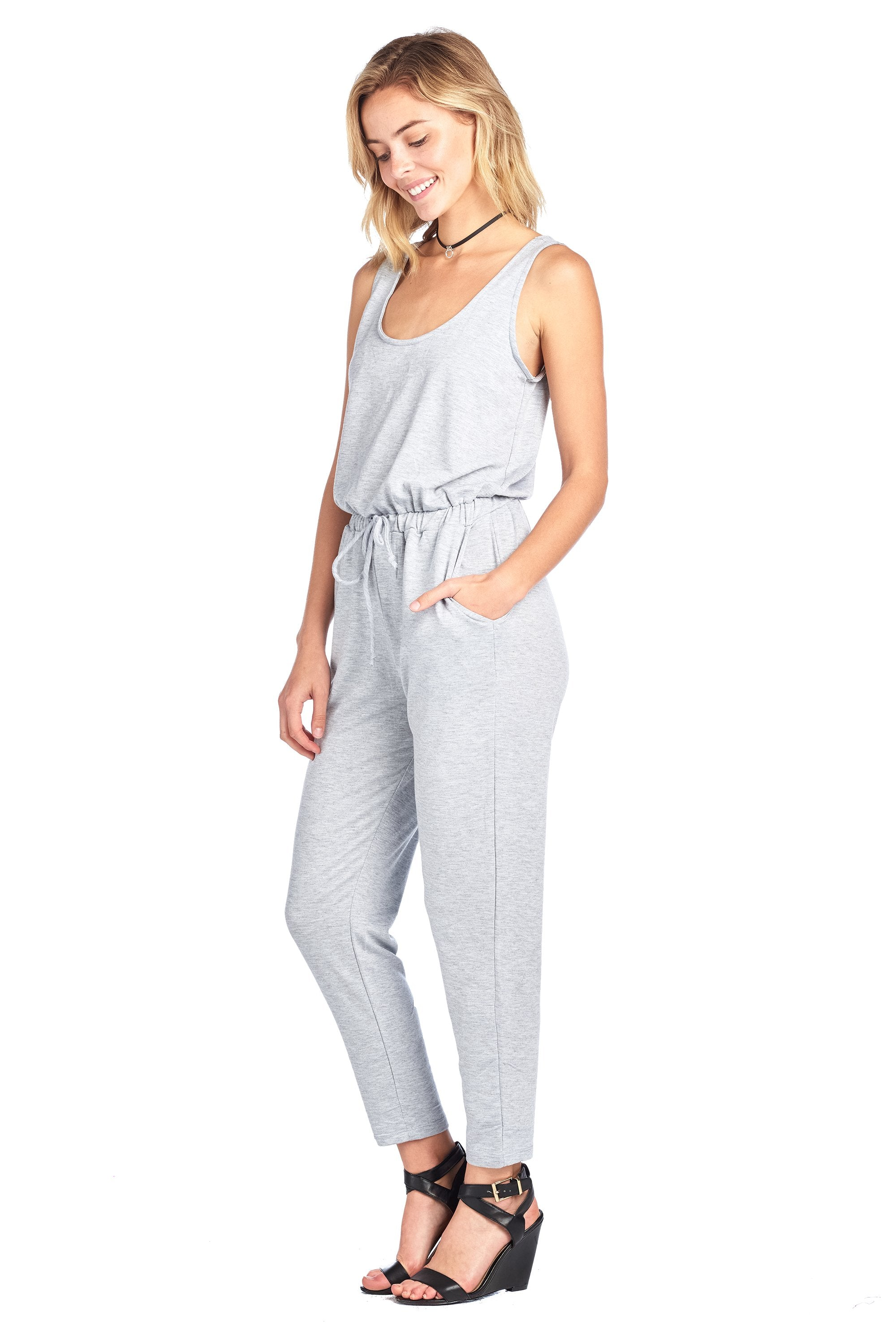 Casual Sleeveless Scoop Neck Drawstring Jumpsuit