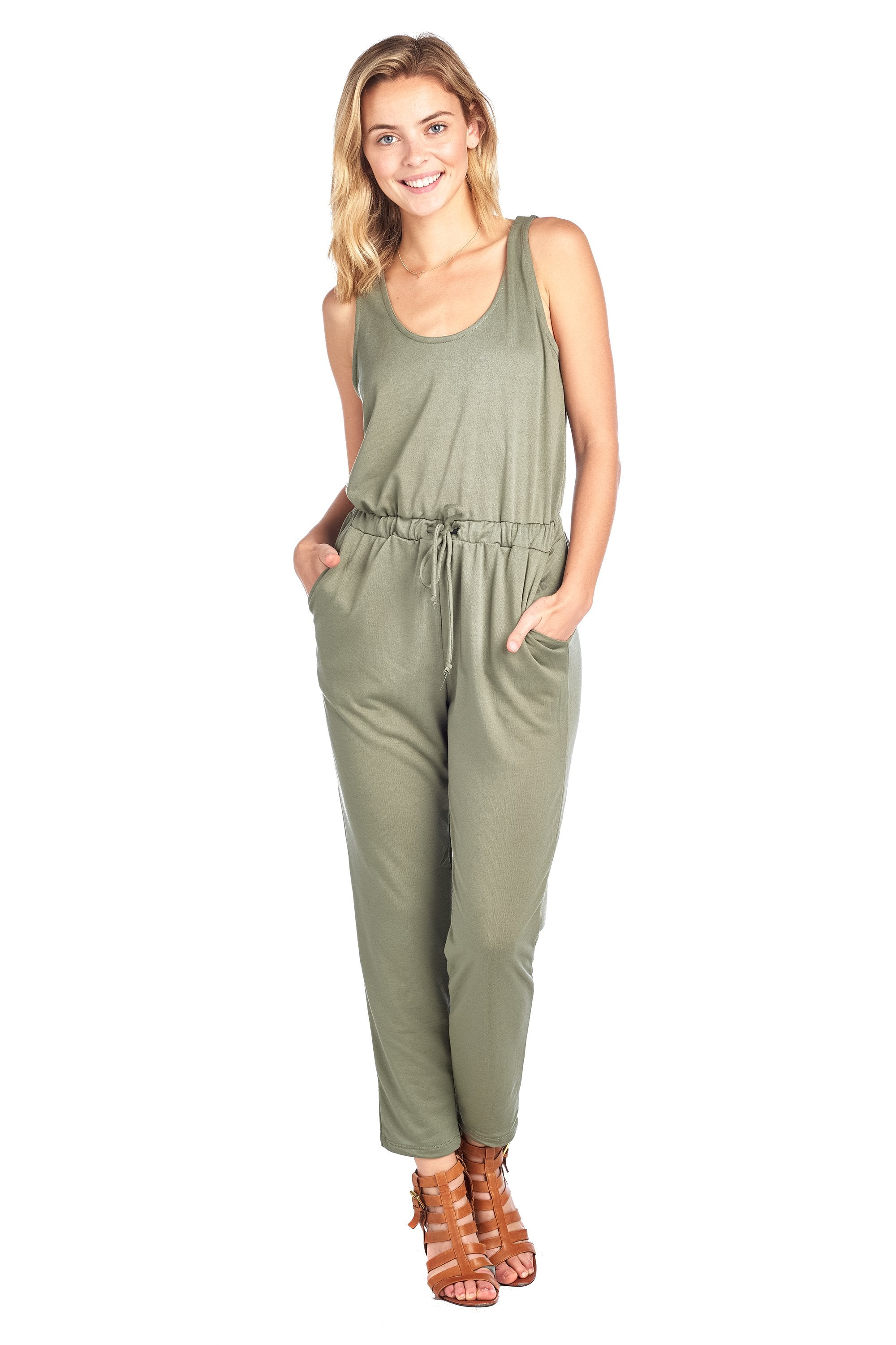 Casual Sleeveless Scoop Neck Drawstring Waist Long Pants Jumpsuit