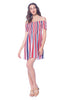 Khanomak Women's Rayon Mini Smocked Striped Ruched Off Shoulder Dress