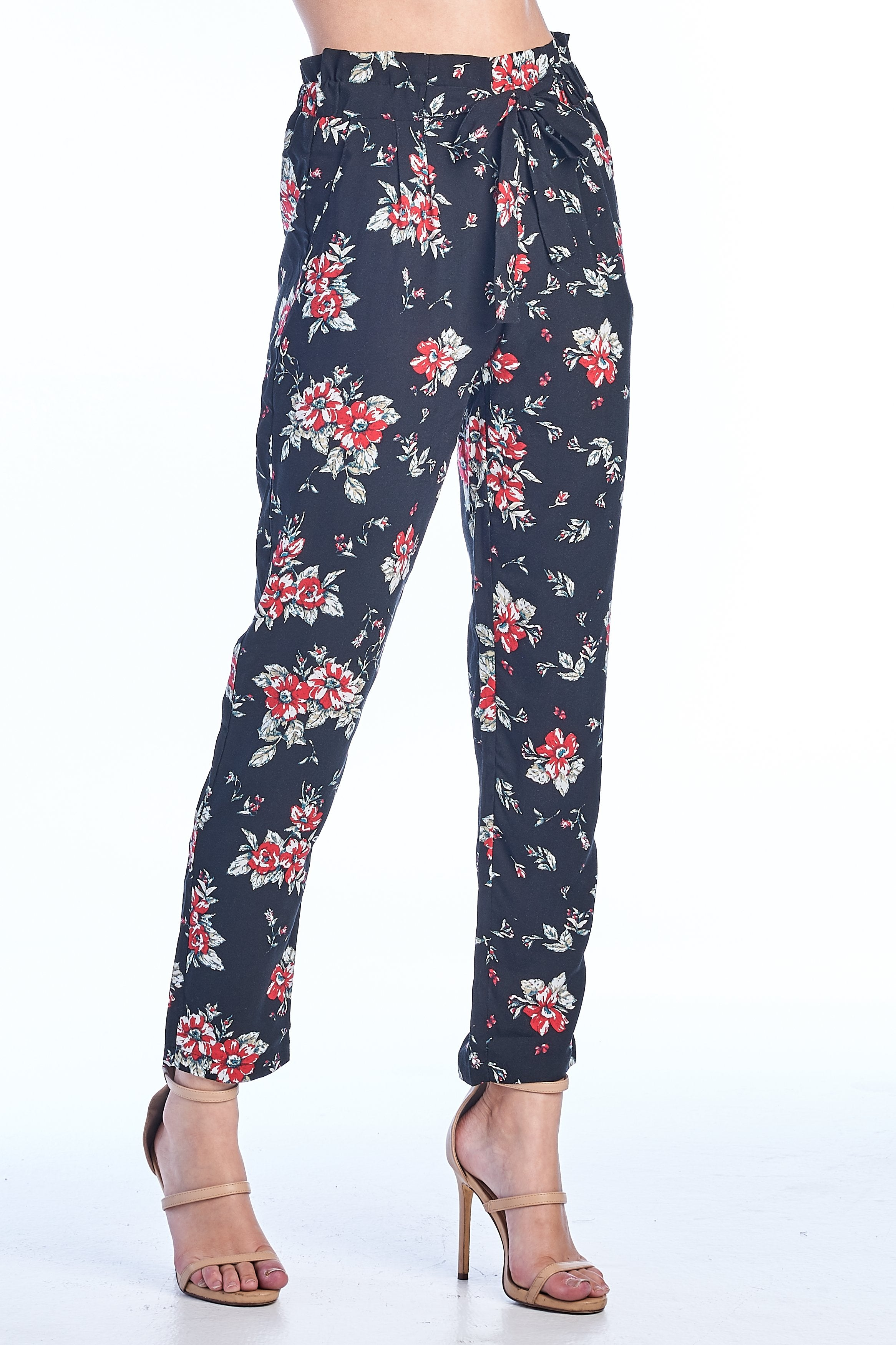 Women's High-Rise Tie Belt Elasticized Waist Floral Print Pants