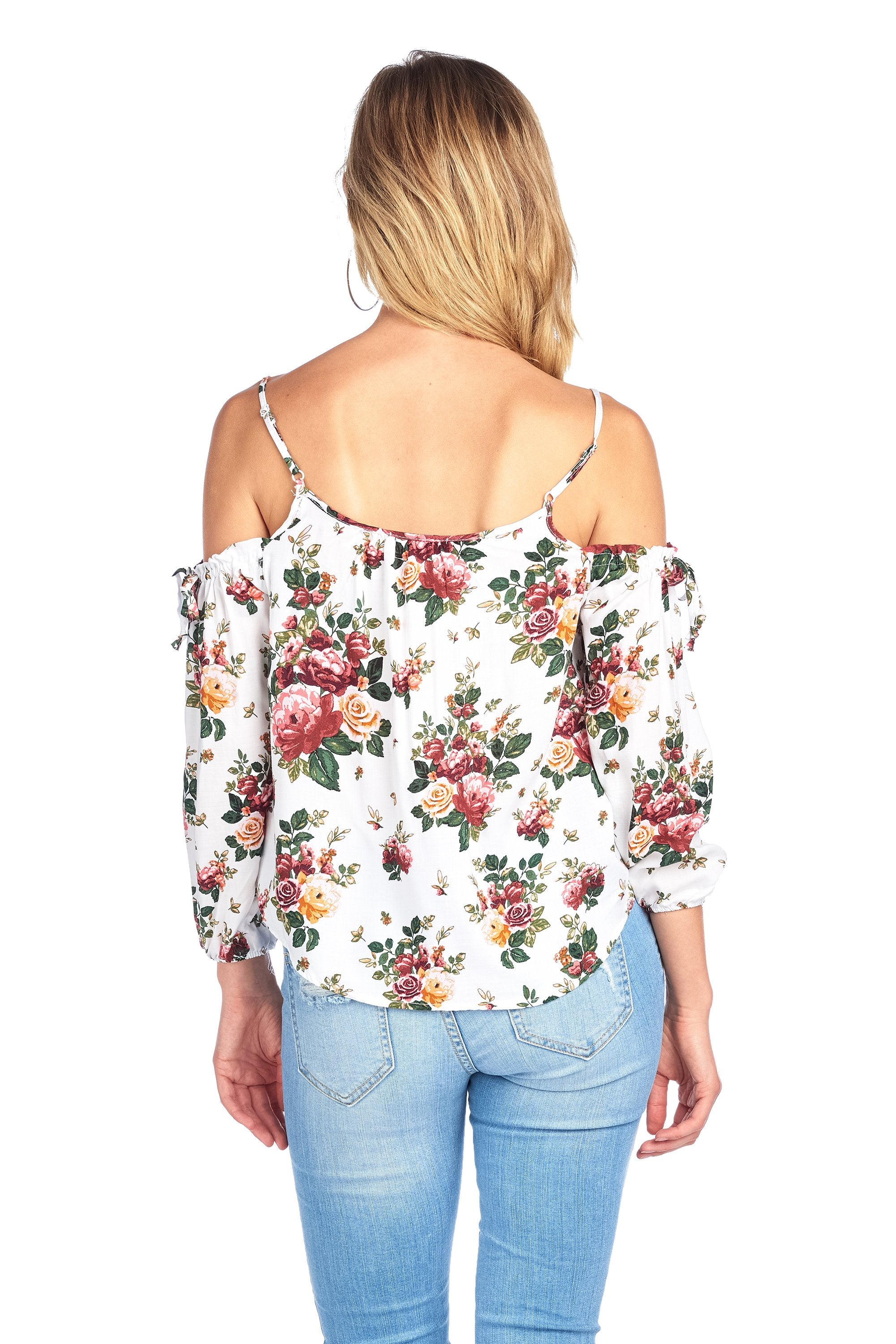 Long Sleeve Cold Shoulder V Neck Front Buttons Adjustable Straps Floral Print Top