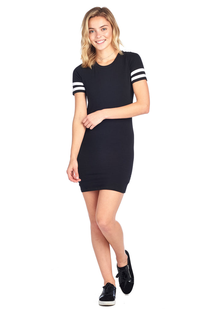 Double Stripe Short Sleeve Round Crew Neck Bodycon Midi Dress