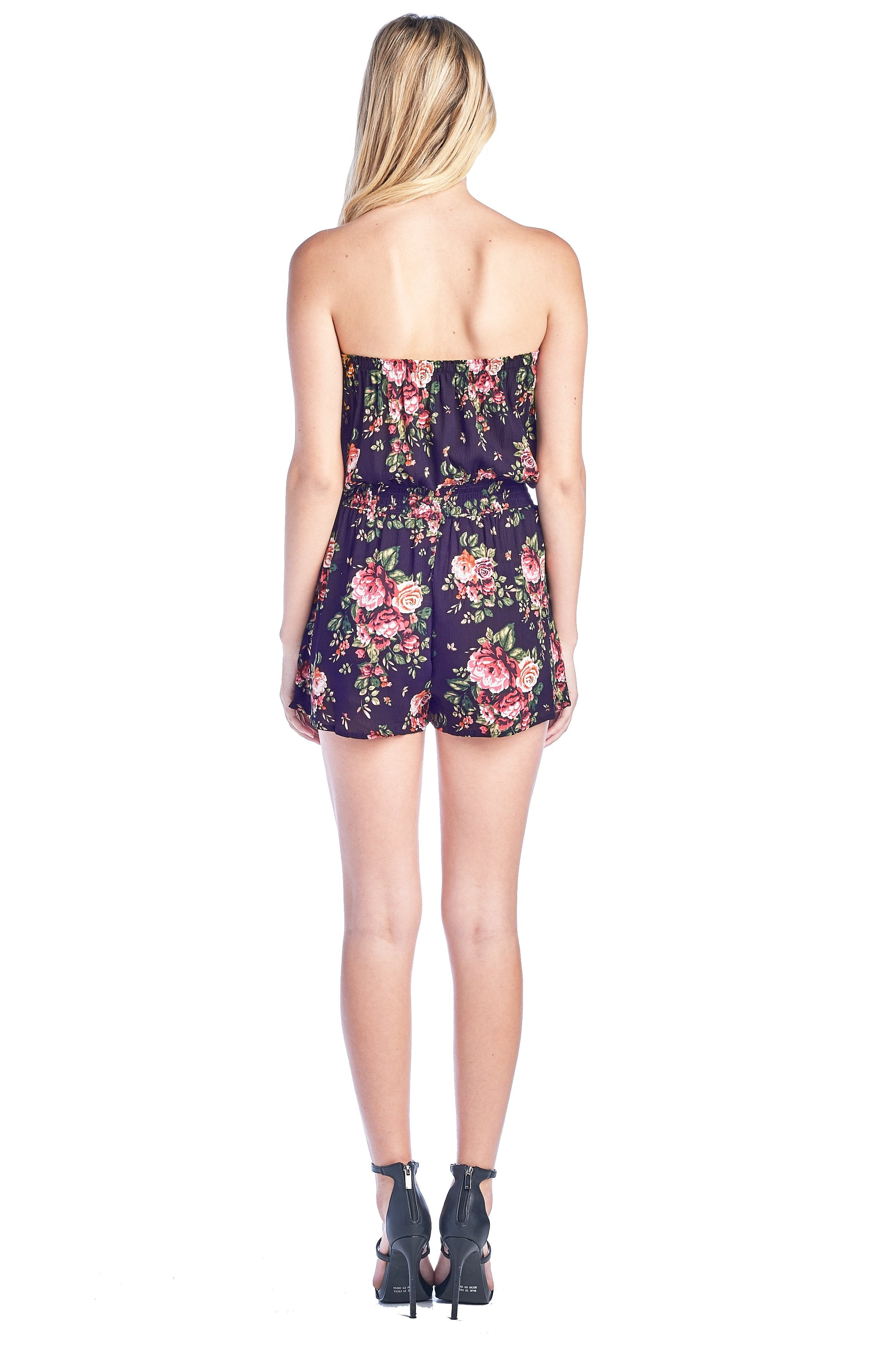 Women's Strapless Casual Smocked Ruched Stretch Floral Print Tube Off Shoulder Elastic Waist Band Shorts Romper