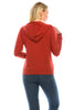 Women's Fleece Zip Through Casual Fit Cotton Rust Hoodie Sweatshirts Long Sleeve Drawstrings - Small