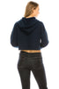 Women's Drawstring Cotton Blend Basic Cropped Solid Pullover Hoodie
