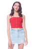 Khanomak Women's Sleeveless Button Front Ribbed Stretch Tube Crop Top