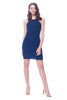 Khanomak Women's Mid Calf Ribbed Basic Halter Fitted Bodycon Dress