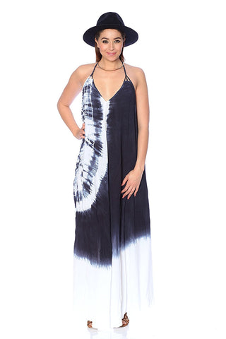 Beaded Trim Tie Dye Maxi Woven Dress