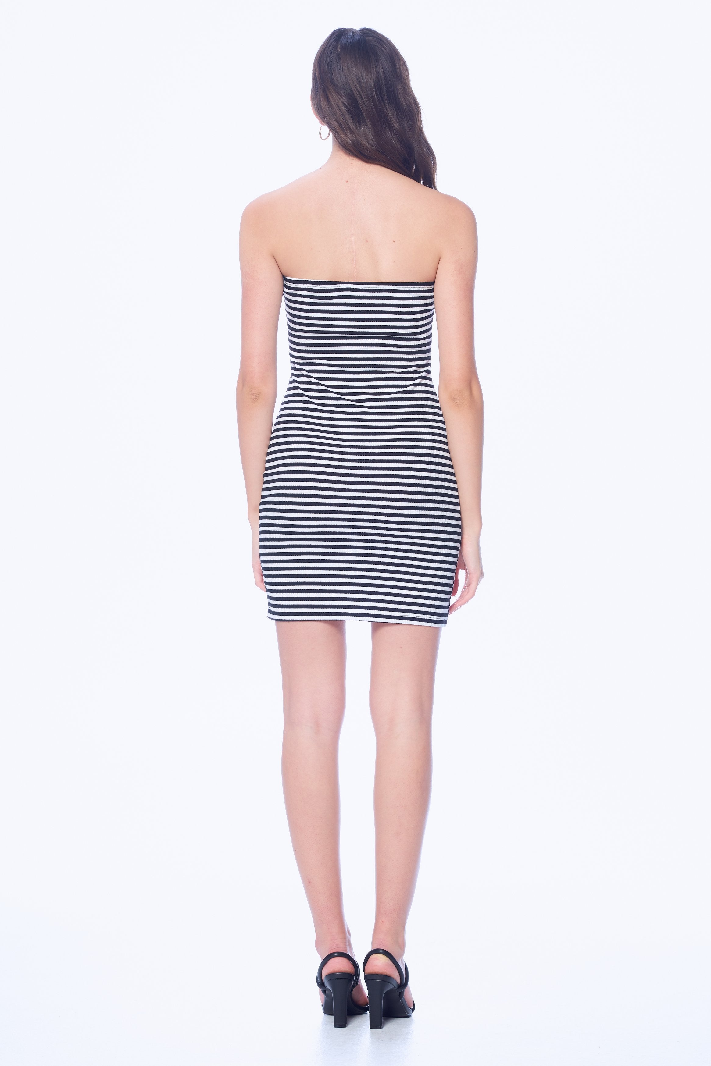 Khanomak Women's Striped Midi Ribbed Basic Bodycon Fitted Tube Dress