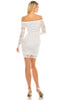 Women's Long Sleeve Off Shoulder Lace Mini Cocktail Bodycon Mini Dress