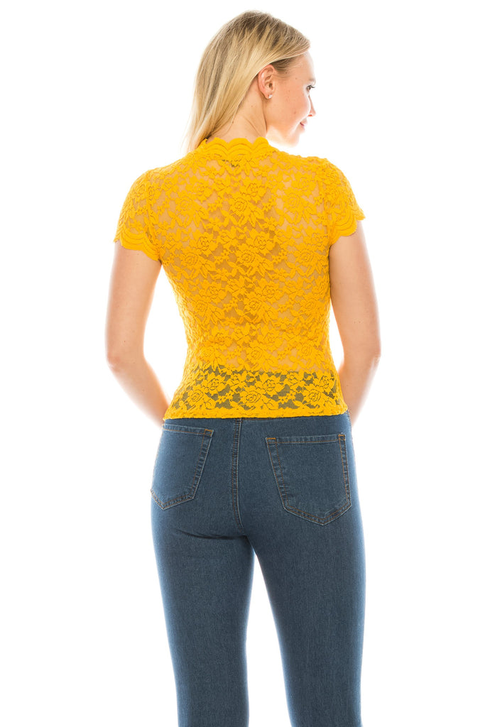 Women's Cap Sleeve Mock Neck Lace Elegant Floral Mustard Top Blouse - Small