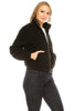 Women's Sherpa Mock Neck Coat Lapel Fleece Fuzzy Faux Shearling Jacket