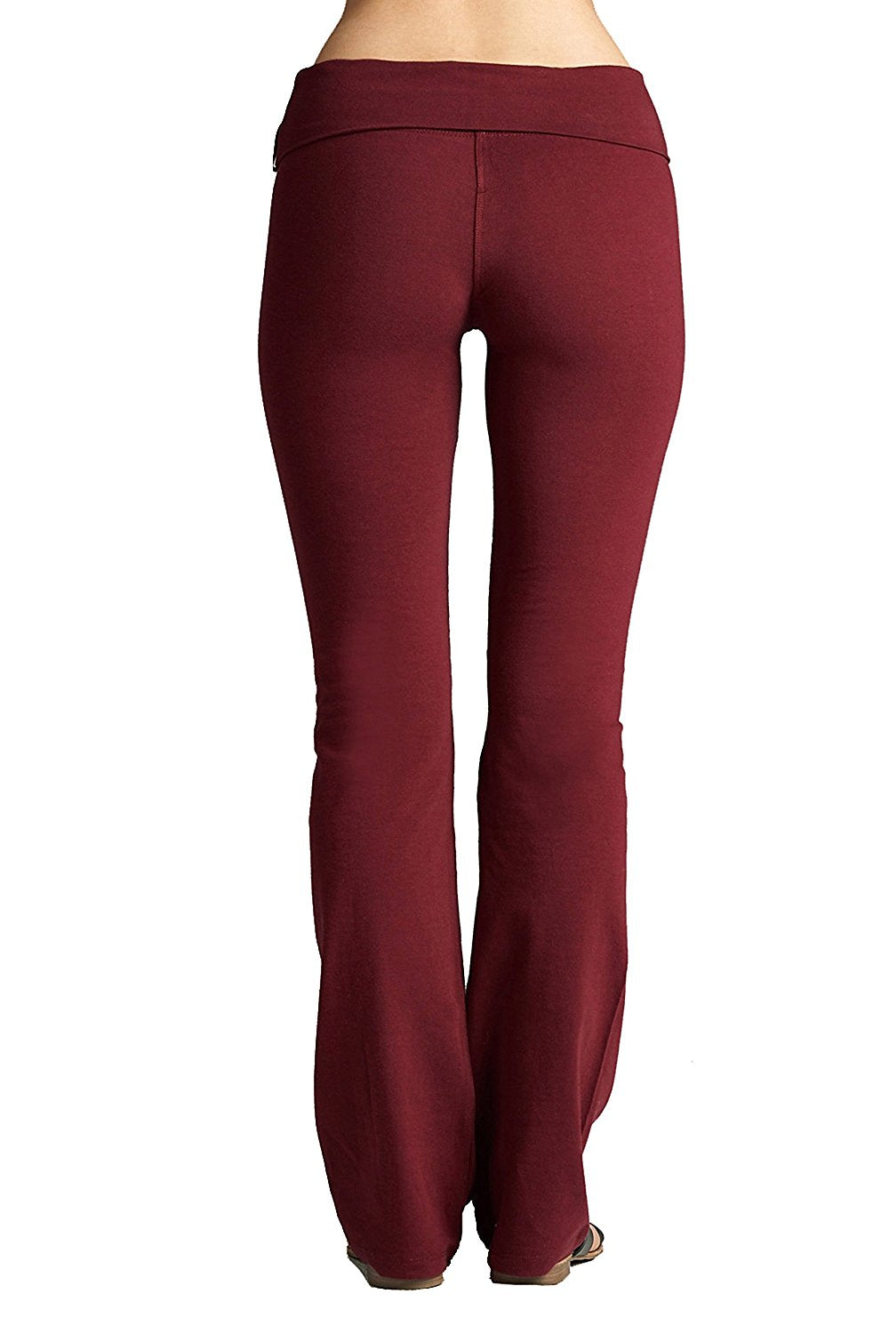 Hollywood Star Fashion Solid Foldover Solid Bootleg Flare Yoga Pants