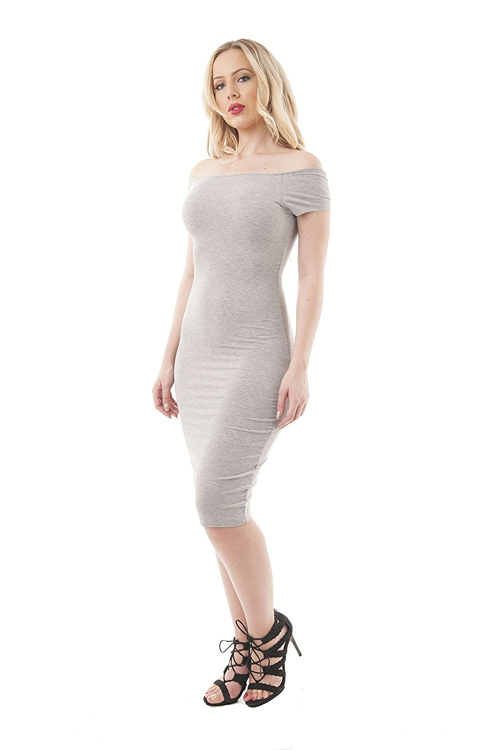 Short Sleeve Ribbed Square Neck V Back Body Con Midi Dress