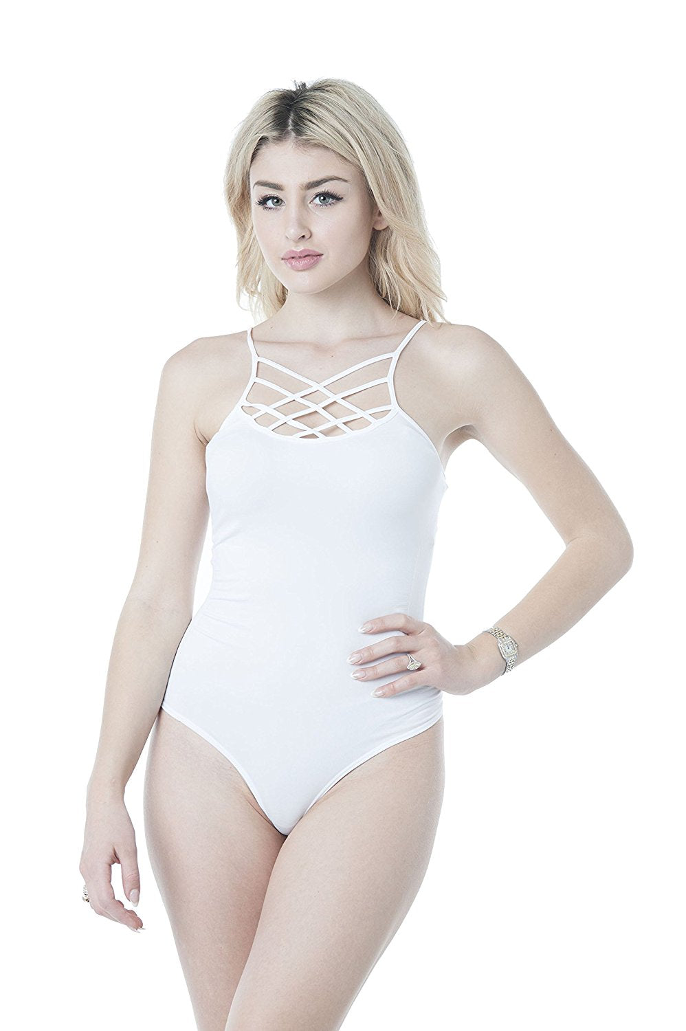 Spaghetti Strap Criss Cross Neck Bodysuit