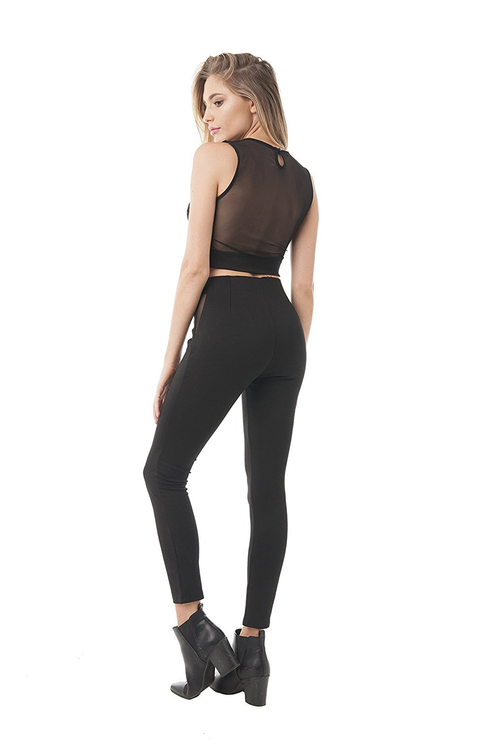 Khanomak Sleeveless Open Back Deep V Mesh Crop Top