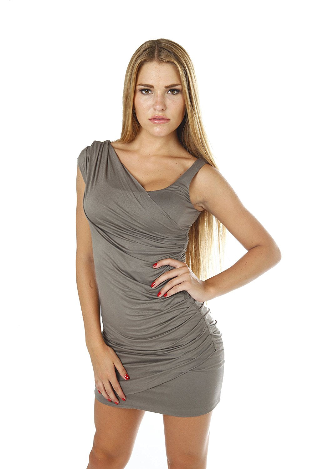 Sexy Viscose Stretch Ruched Elegant Designer Dress