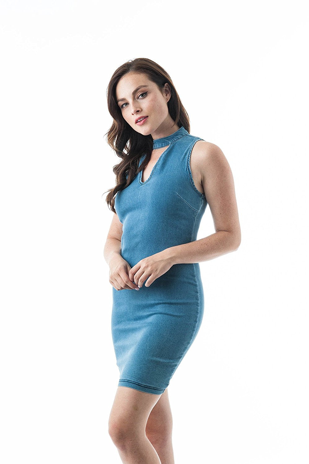 Sleeveless Denim Choker Mini Bodycon Dress