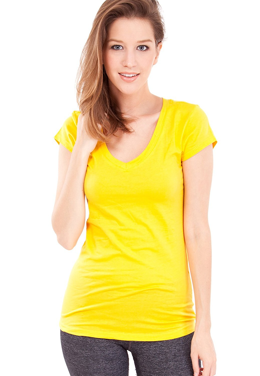 Clothes Effect Woman Short Sleeve V-Neck T-Shirt, Multiple Colors S-3X