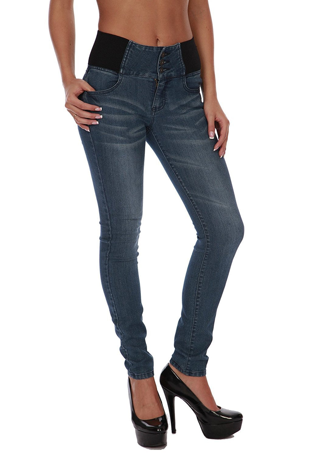 Hollywood Star Fashion Women's High Elastic Design Waist Button Skinny Jeans