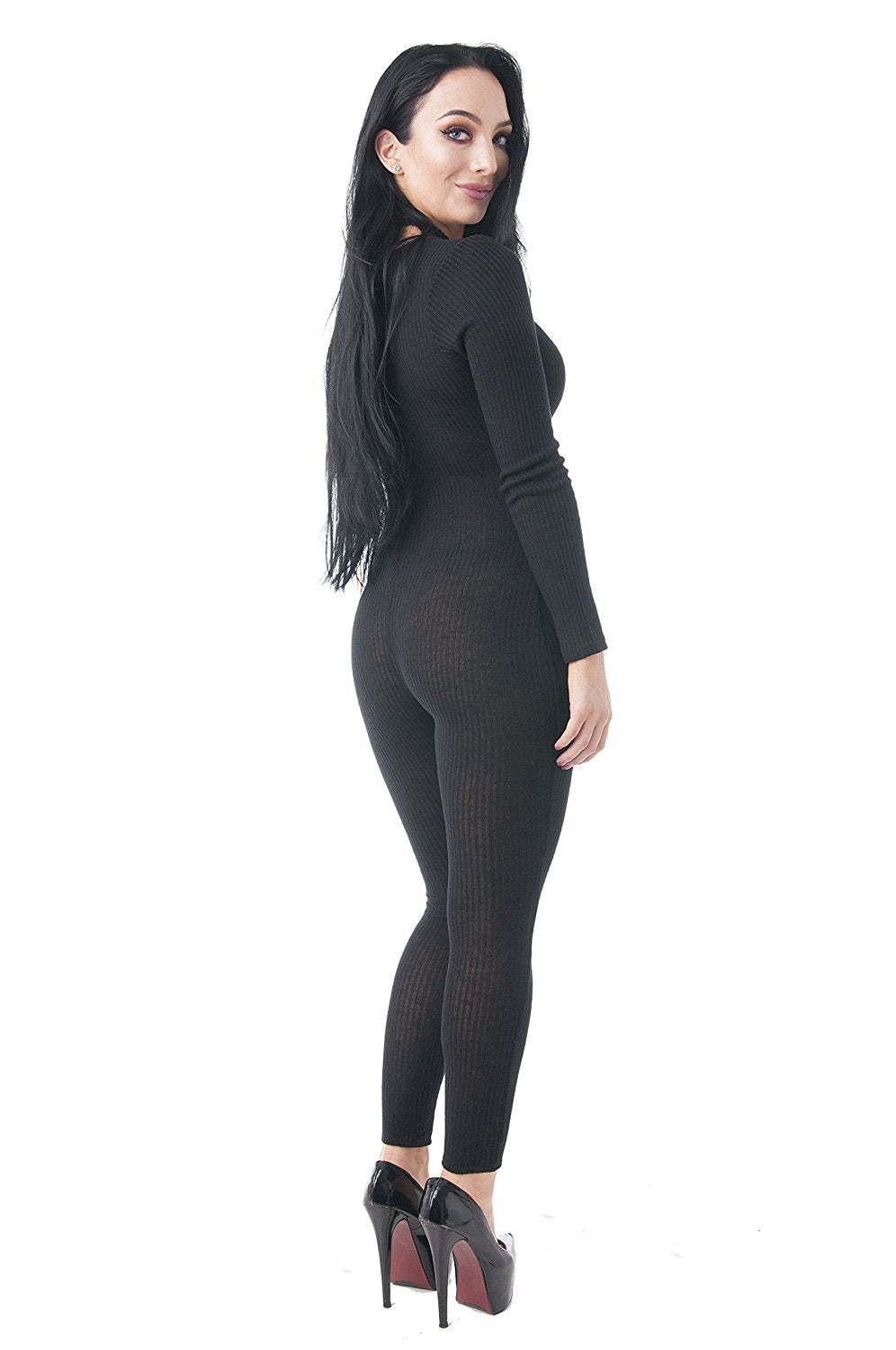 Long Sleeve Ribbed V Neck Button Up Bodysuit Jumpsuit
