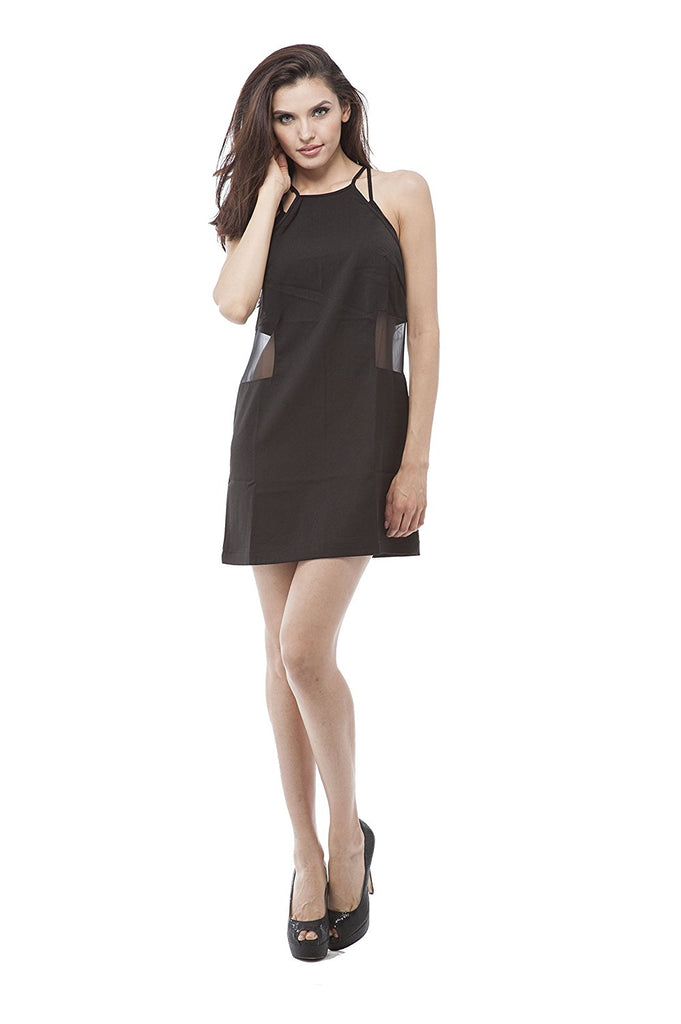 Sheer insert on side halter neck dress
