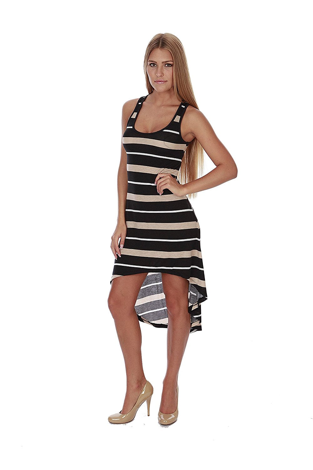 Hollywood Star Fashion Women's Striped Summer High And Low Midi Racerback Dress
