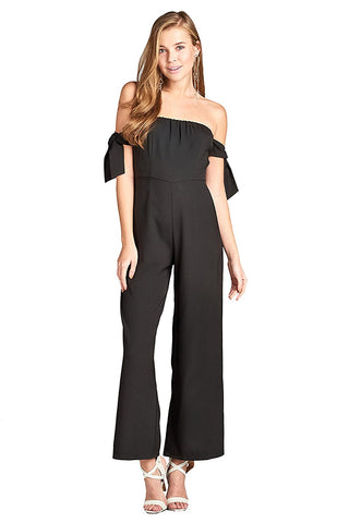Khanomak Elasticized Hem Tube Self-Tie Bow Sleeves Wide Palazzo Leg With Back Zipper Jumpsuit