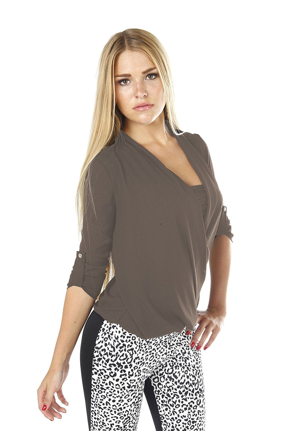 Hollywood Star Fashion Women's Wrap Front Chiffon Long Sleeves Blouse