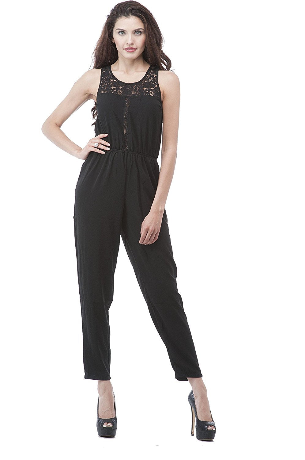 Hollywood Star Fashion Sleeveless Open Back Lace Trim Jumpsuit