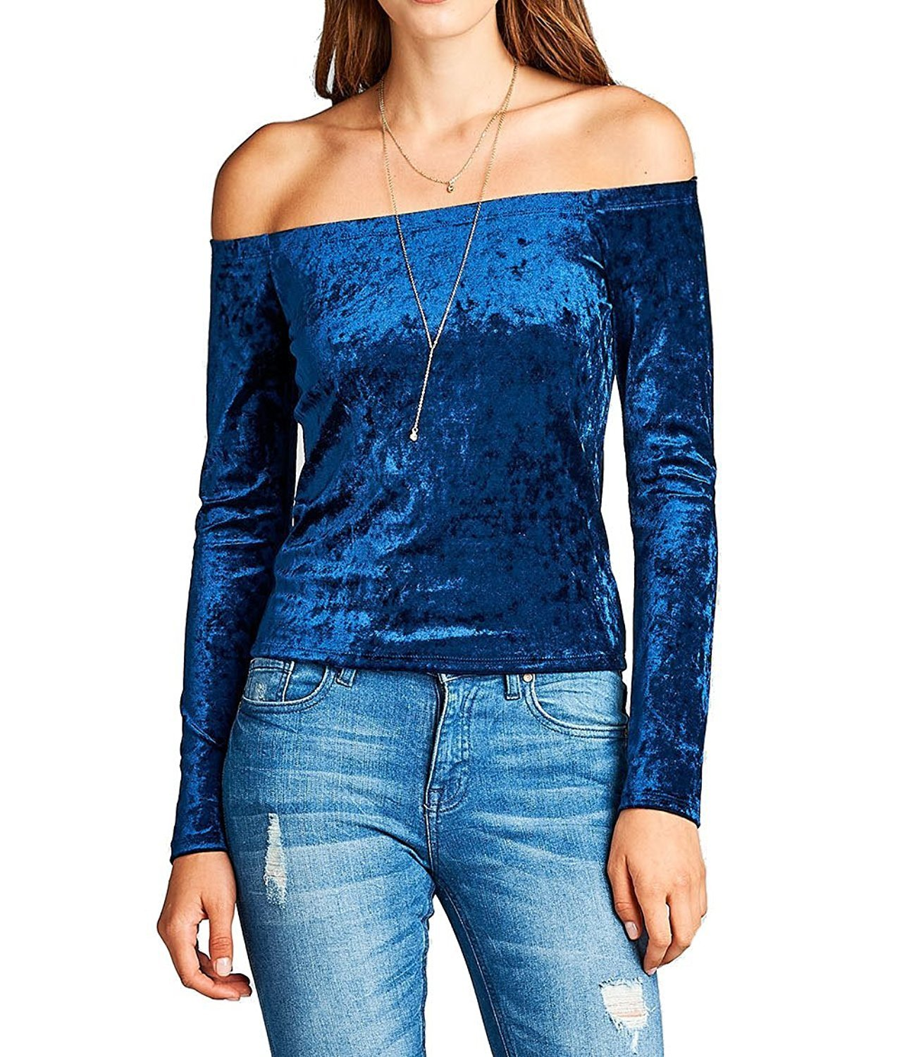 Khanomak Plain Soft Long Sleeve Off The Shoulder Ice Crushed Velvet Cropped Top