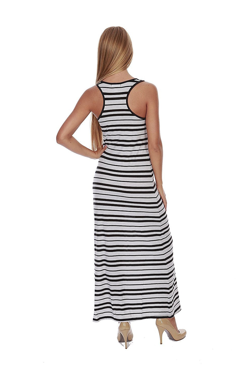 Hollywood Star Fashion Women's Striped Long Full Length Racerback Tank Dress