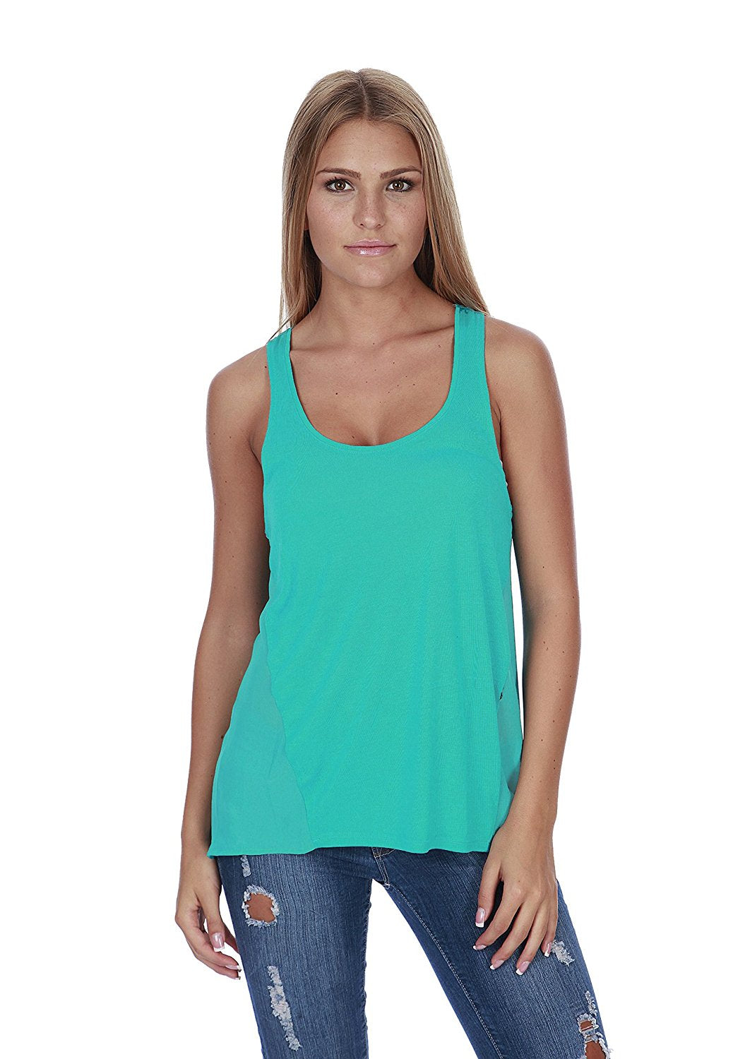 Hollywood Star Fashion Women's Semi Sheer Solid Tank Top With Sheer Chiffon Back