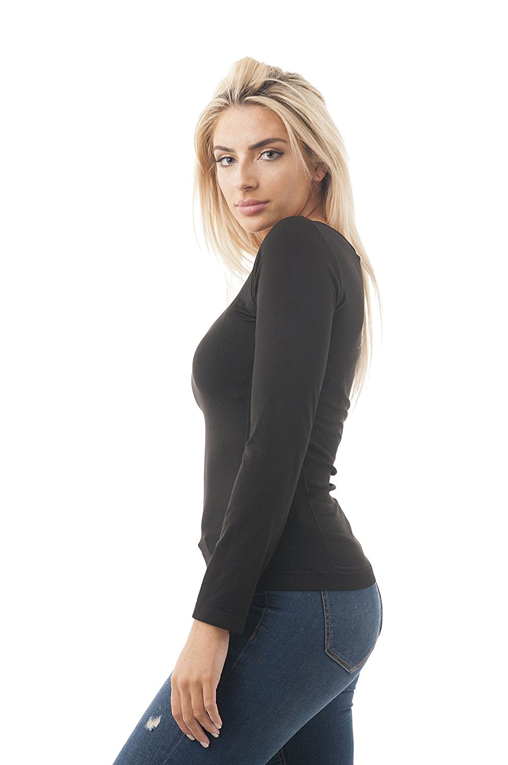 Long Sleeve Rounded Scoop Neck One size Top
