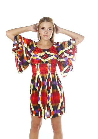Bat Sleeve Dress Tunic Multicolor jersey long top