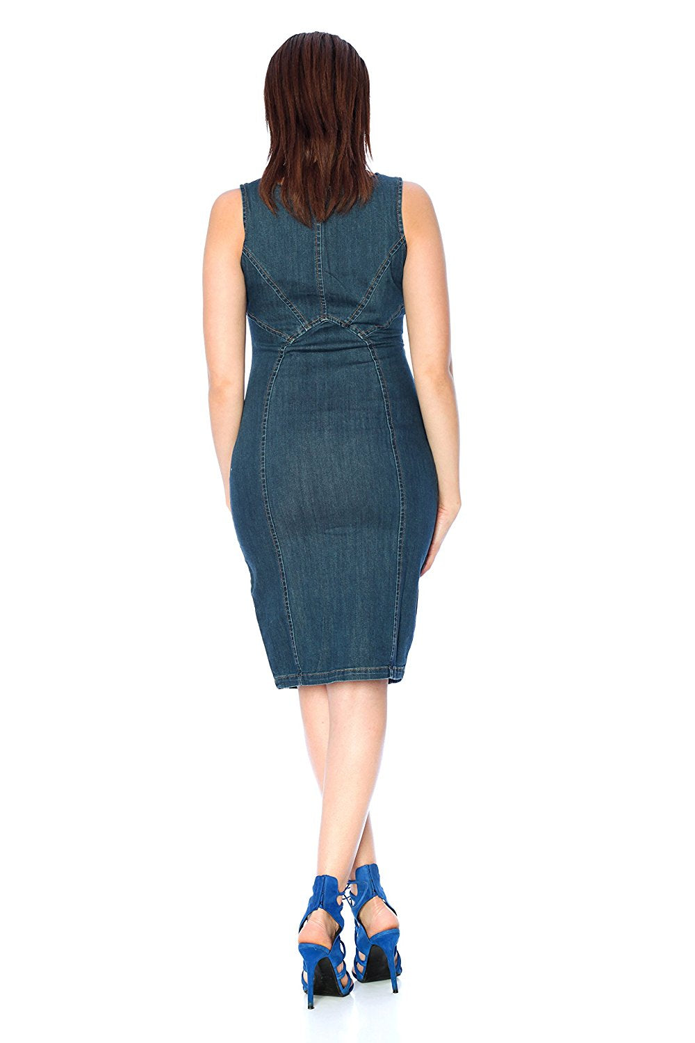 Khanomak Sleeveless Scoop Neck Misses Zip Up Denim Dress