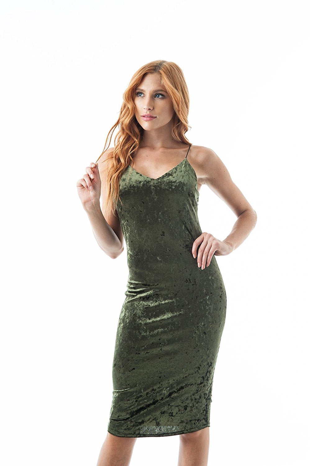 Crushed Velvet V Neckline Cami Midi Bodycon Dress