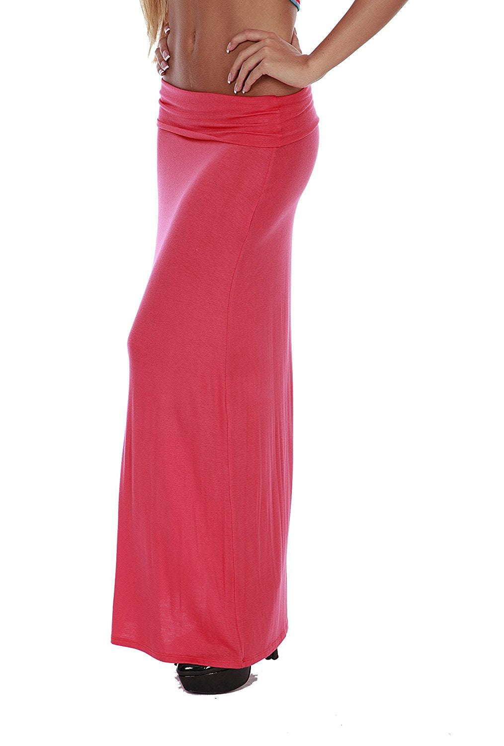 Hollywood Star Fashion Women's Basic Stretch Solid Colored Plain Maxi Long Skirt