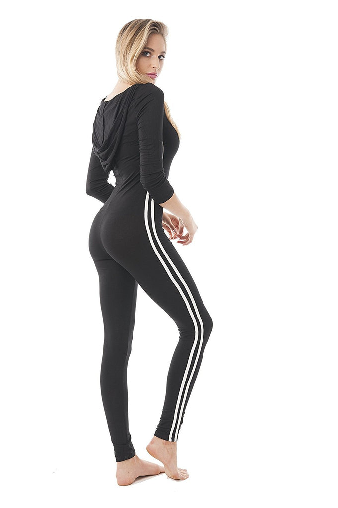 Women's V Neck Black Double Stripe Side Hoodie Bodycon 3/4 Sleeve Active Wear Jumpsuit