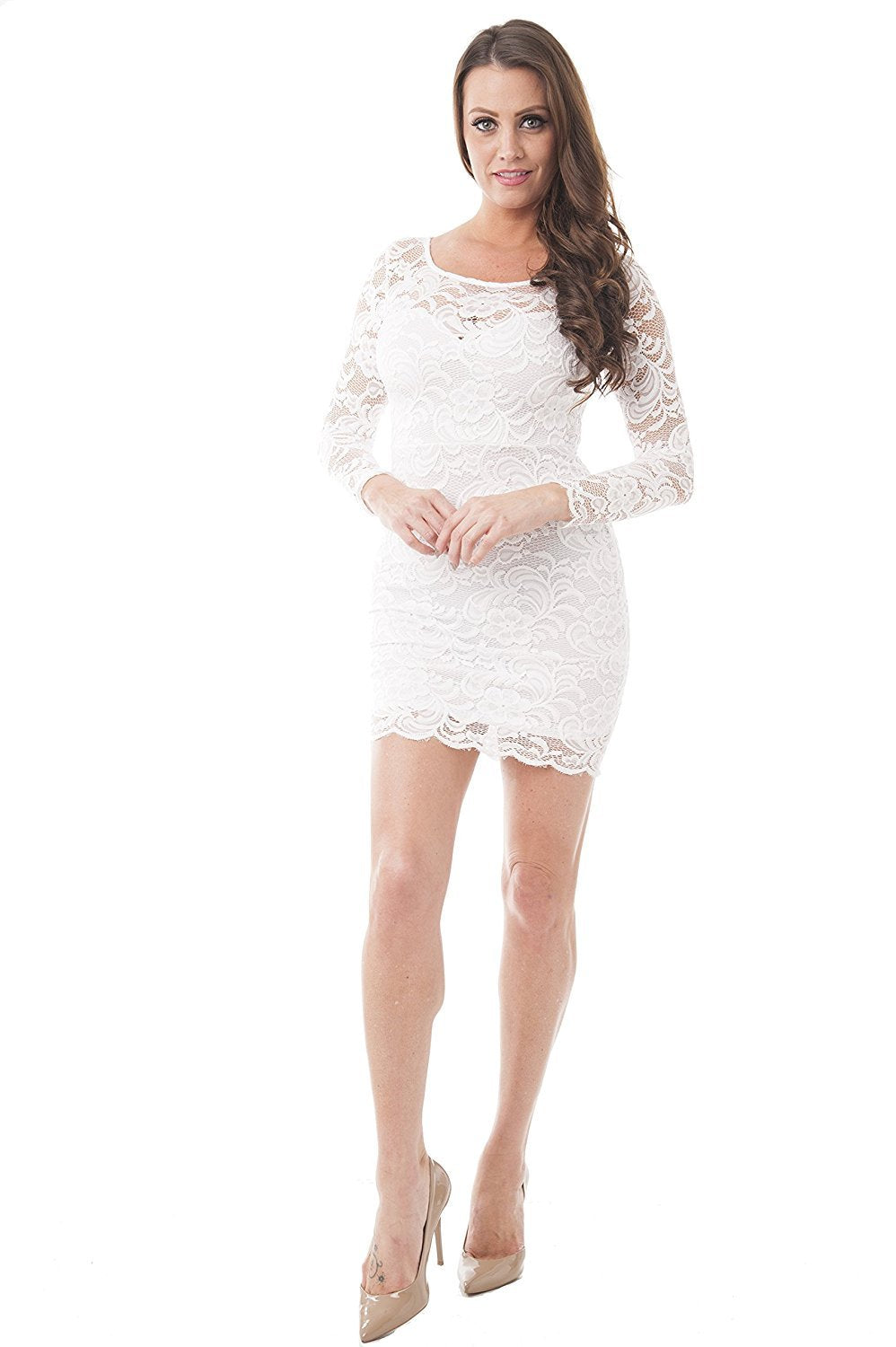 Khanomak Women's Floral Lace Long Sleeve Bodycon Cocktail Party Fitted Dresses