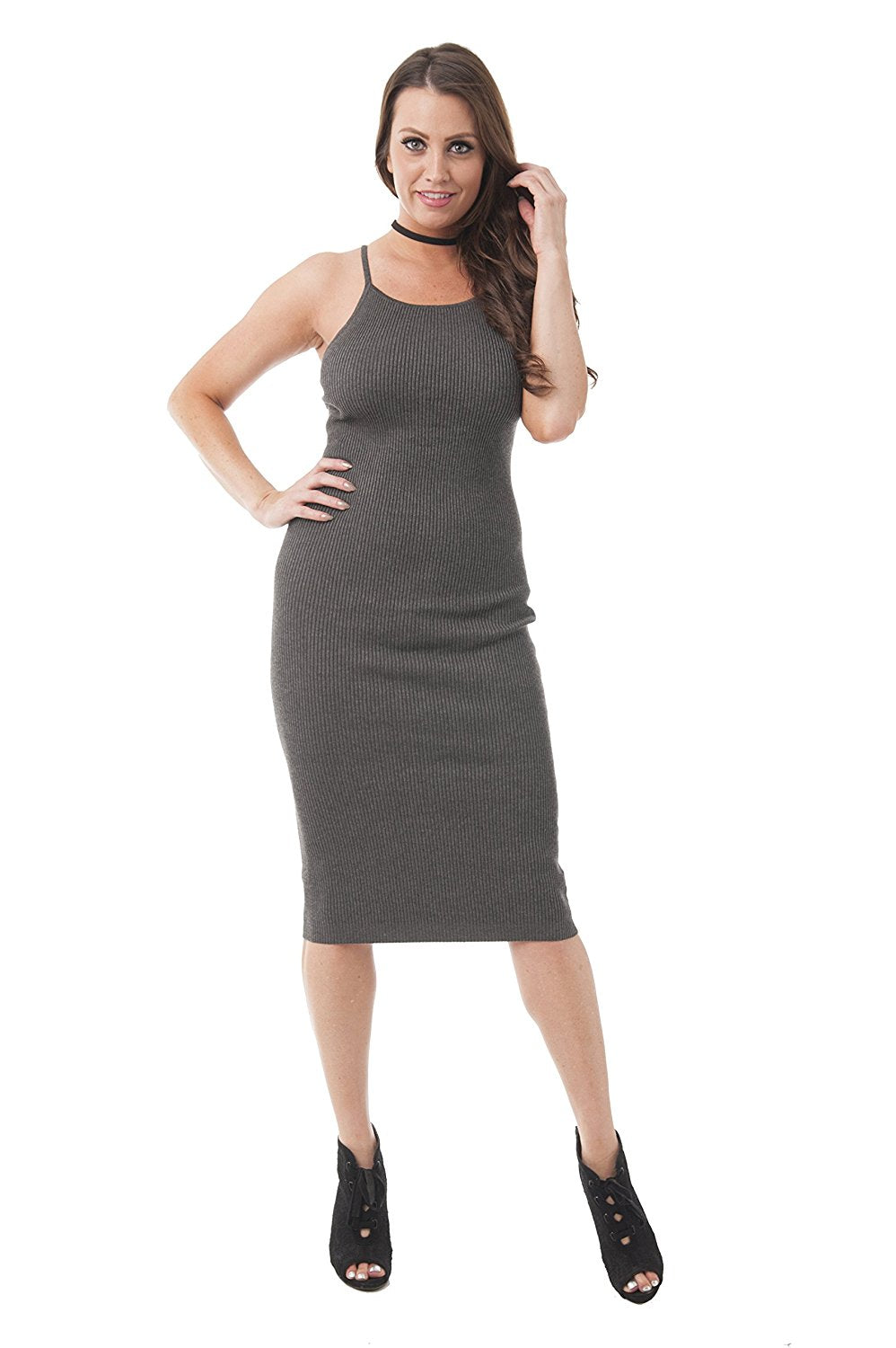 Khanomak Knit Sleeveless Fitted Rib Midi Dress