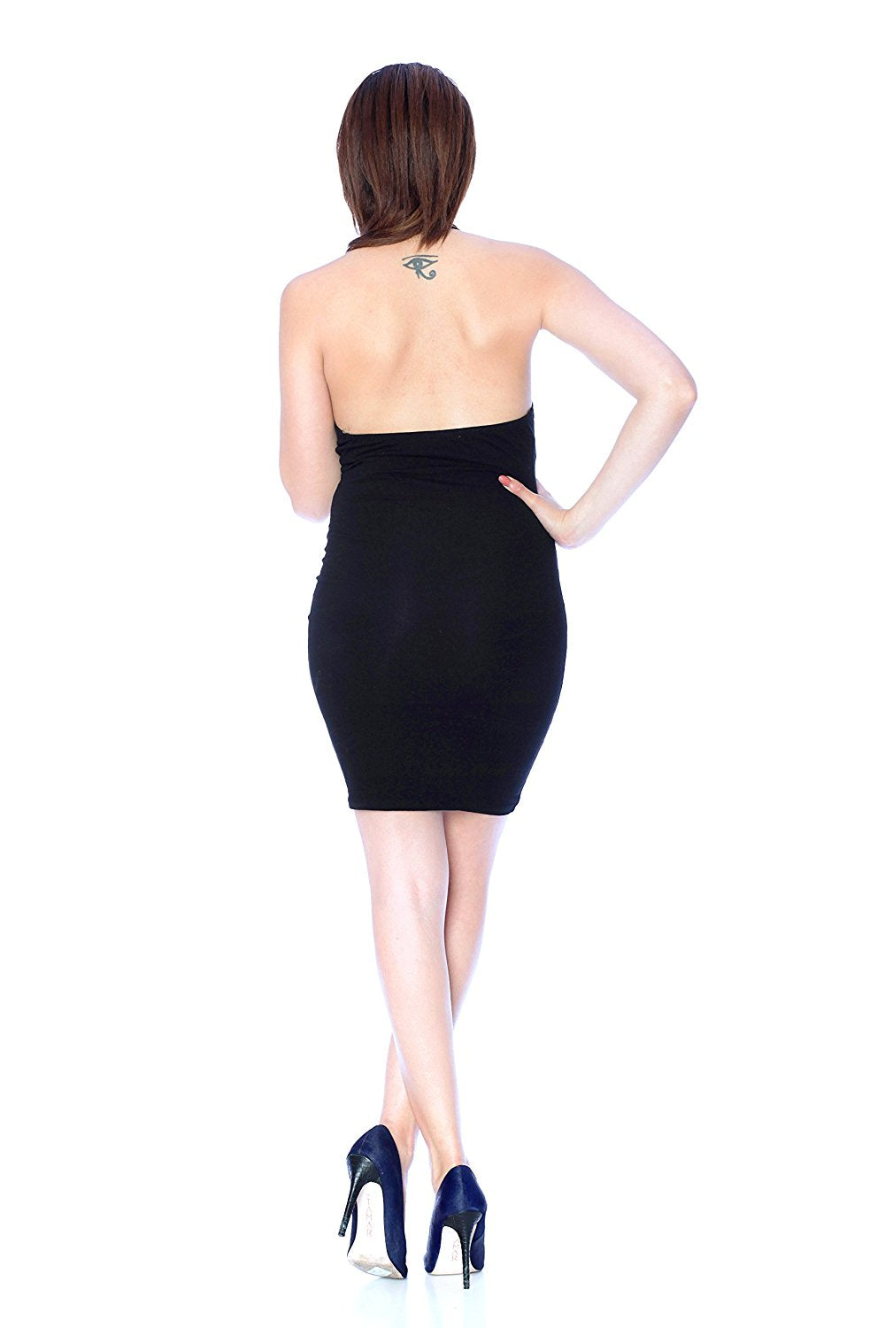 Khanomak V Neck Halter Neck Bodycon Dress