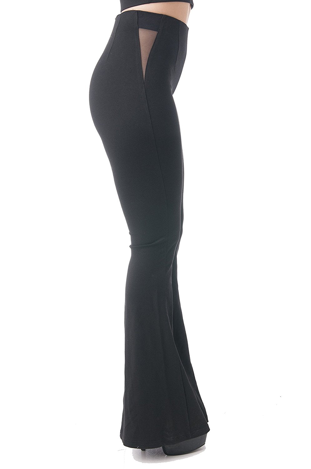 Khanomak Full Length Flare Stretch Leggings With Mesh Sides See Through