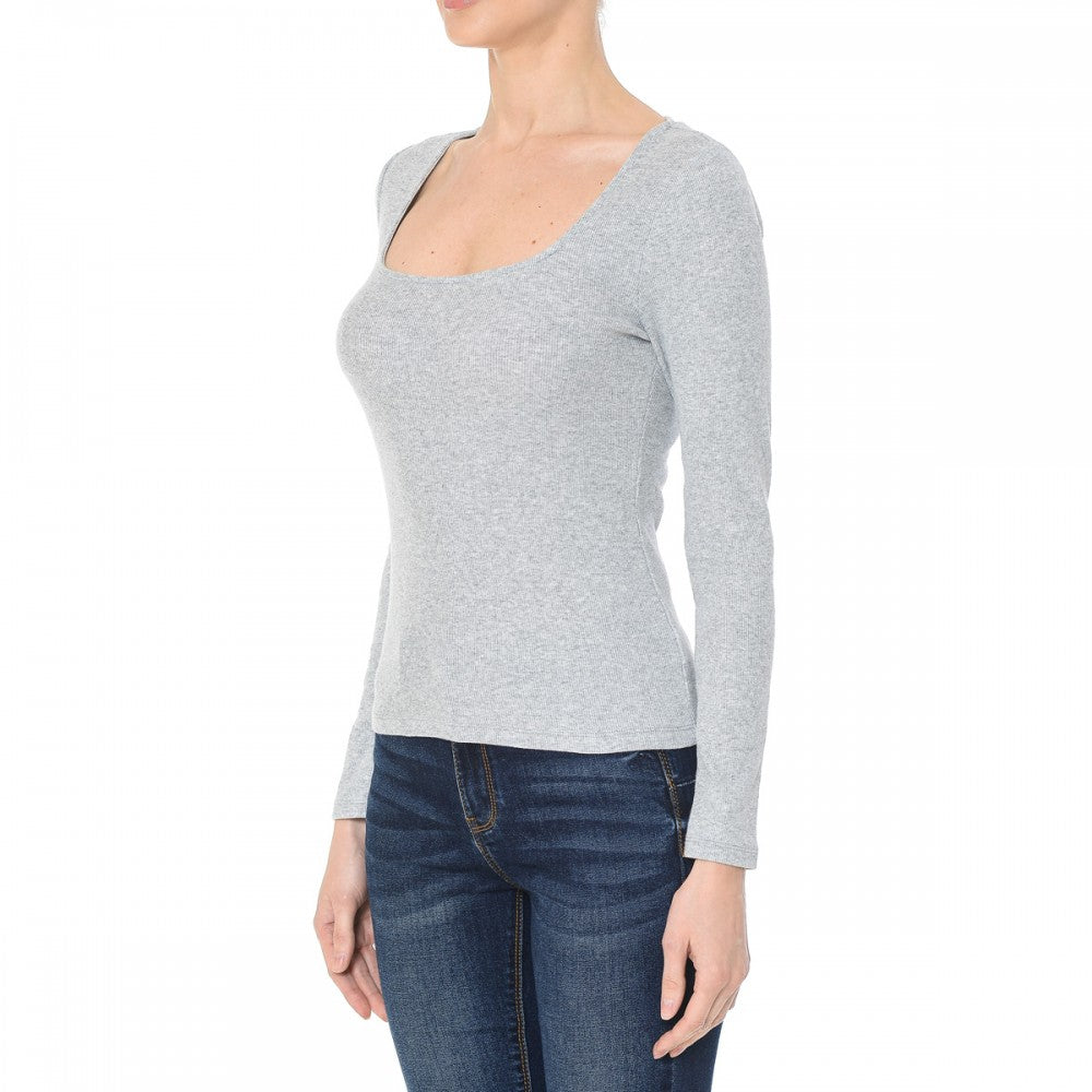 Women's Ribbed Square Neck Long Sleeve Top