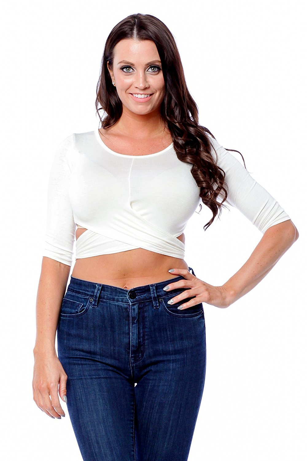 Half Sleeve knotted Back Crop Top