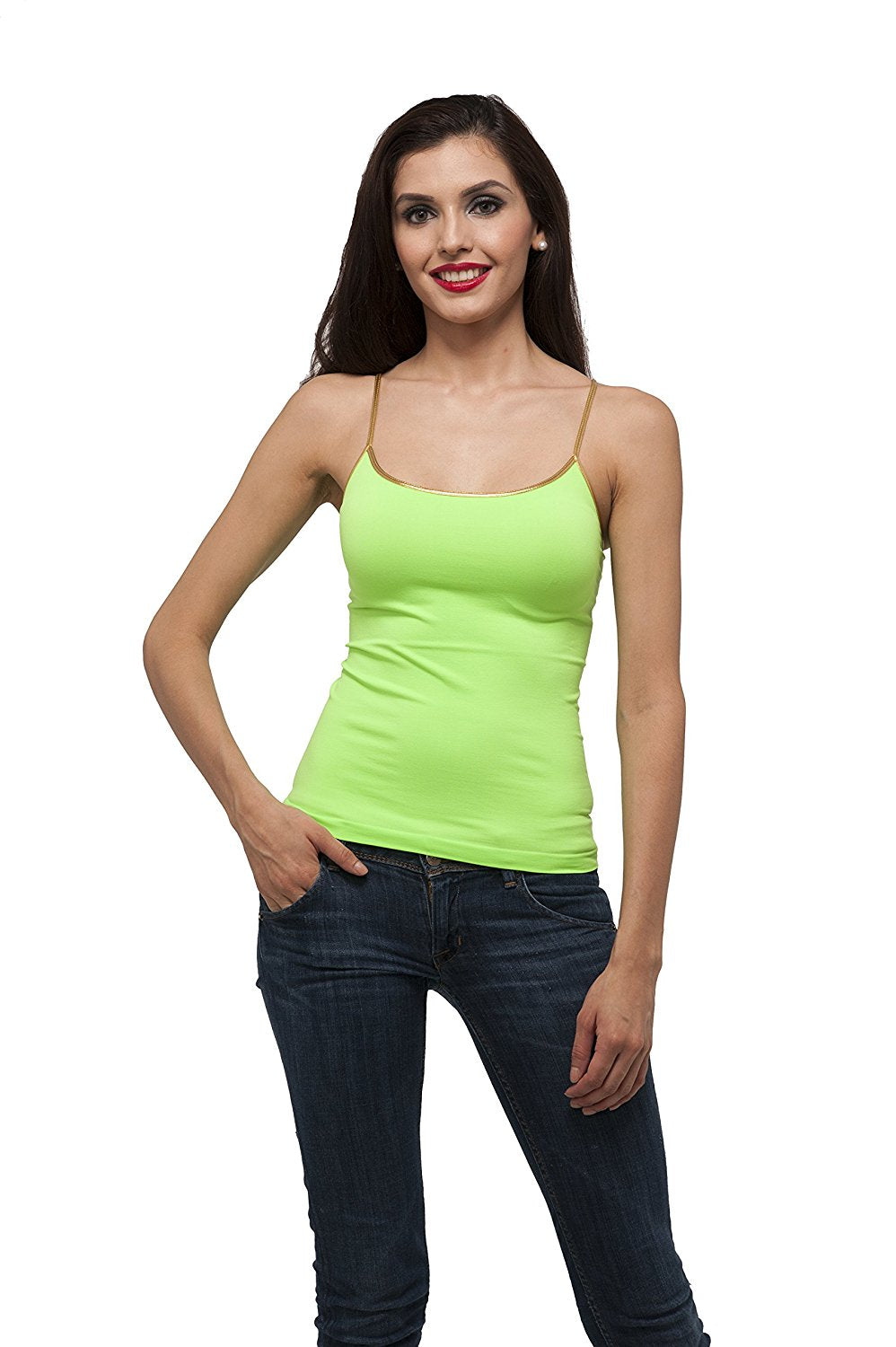 One Size stretchy gold trim spaghetti strap tank top