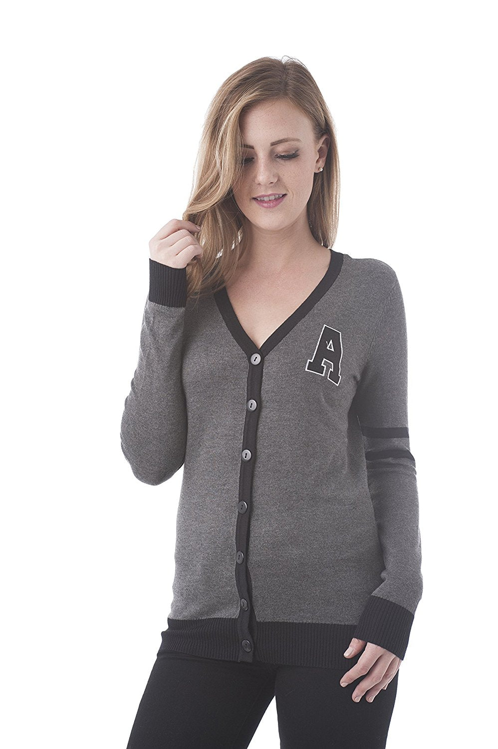 Khanomak V Neck Button Down Varsity Cardigan